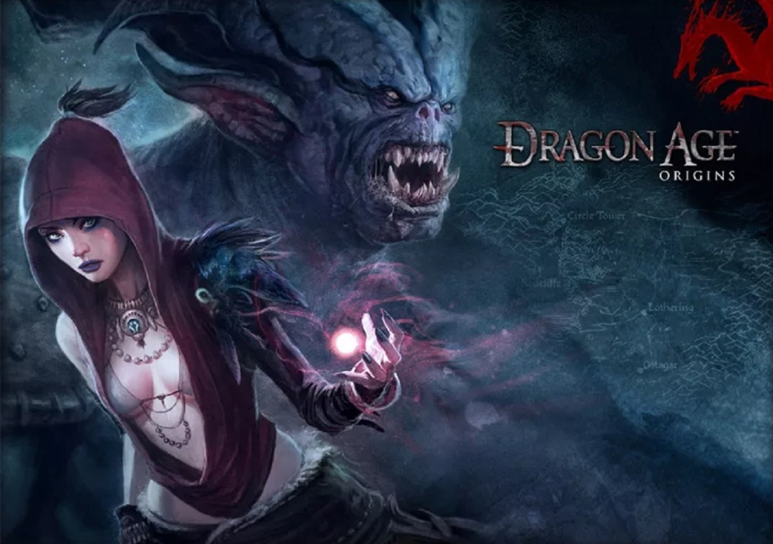 Dragon Age: Origins art - featuring Morrigan in the foreground with a demon behind her
